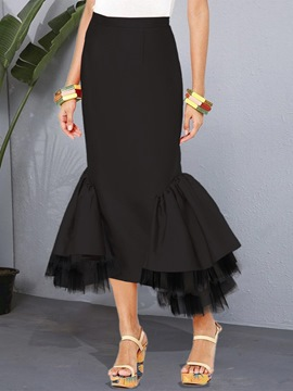 Ericdress Patchwork Ankle-Length Color Block Fashion Mid Waist Skirt