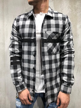 Ericdress Plaid Lapel Patchwork Single-Breasted Fall Shirt