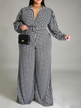 Ericdress Plus Size Houndstooth Formal Full Length Straight High Waist Jumpsuit