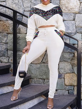 Ericdress Hoodie Color Block Fashion Pullover Pencil Pants Two Piece Sets