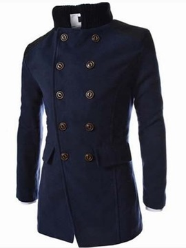Ericdress Mid-Length Plain Lapel Winter Double-Breasted Coat