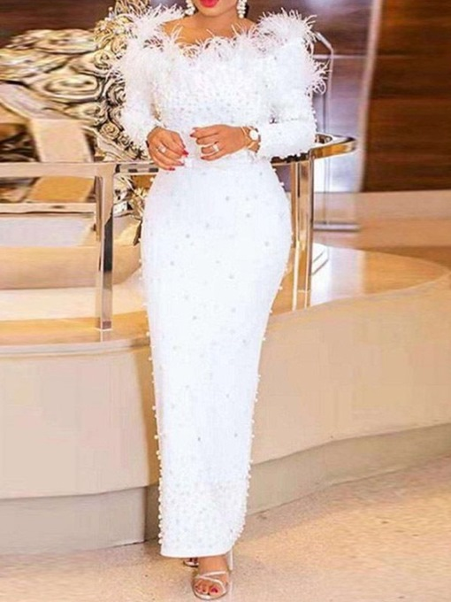Ericdress Feather Off-The-Shoulder Long Sleeves Floor-Length Evening Dress 2021