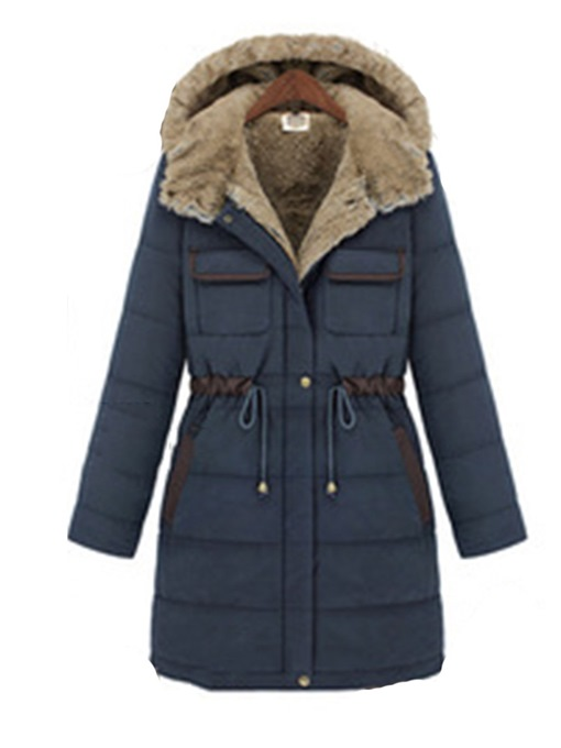 Ericdress Button Single-Breasted Mid-Length Cotton Padded Jacket