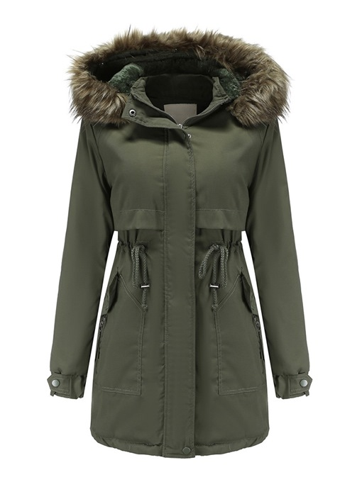Ericdress Single-Breasted Button Slim Mid-Length Cotton Padded Fall Jacket