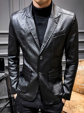 Ericdress Standard Plain Notched Lapel Casual Slim Leather Jacket