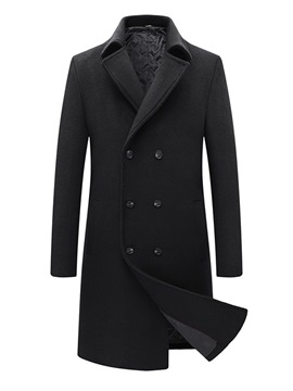 Ericdress Plain Button Lapel England Double-Breasted Coat
