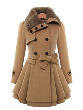 Ericdress Slim Button Double-Breasted Mid-Length Winter Overcoat