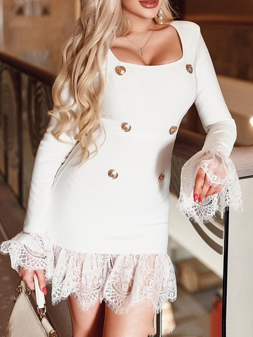 Ericdress Square Neck Button Long Sleeve Plain Pullover Dress