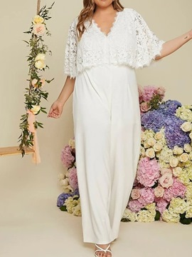 Ericdress Plus Size Western Lace Full Length Loose Wide Legs Jumpsuit