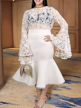 Ericdress See-Through Western Skirt Pullover Mermaid Two Piece Sets