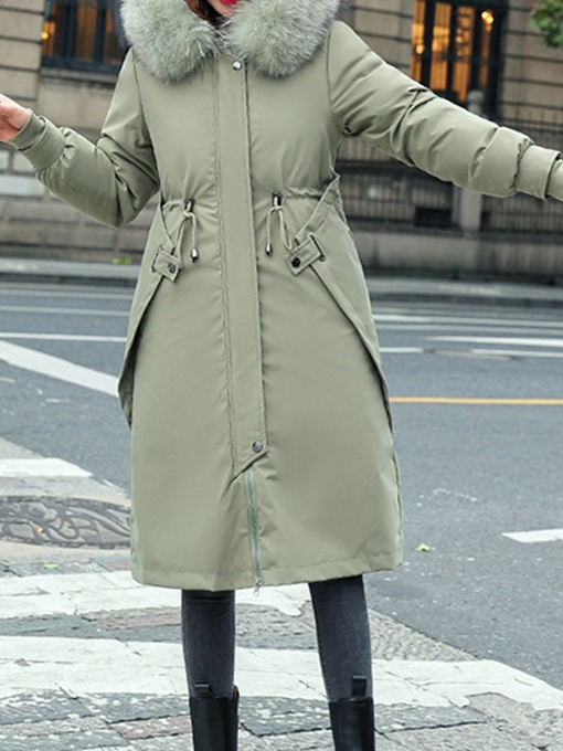 Ericdress Pocket Single-Breasted Thick Long Cotton Padded Jacket