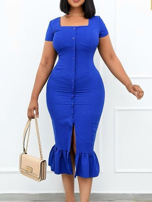 Ericdress Mid-Calf Square Neck Button Single-Breasted Plain Dress