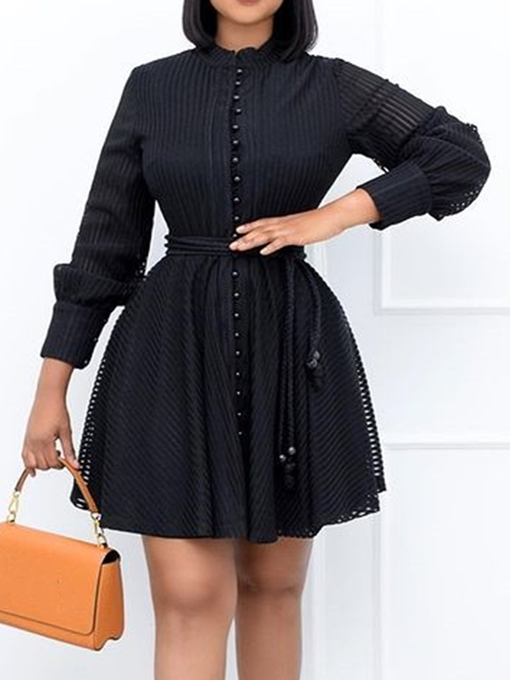 Ericdress Stand Collar Lace-Up Nine Points Sleeve Fall Single-Breasted Dress