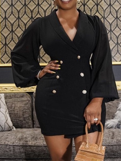 Ericdress Above Knee Long Sleeve Button Double-Breasted High Waist Dress