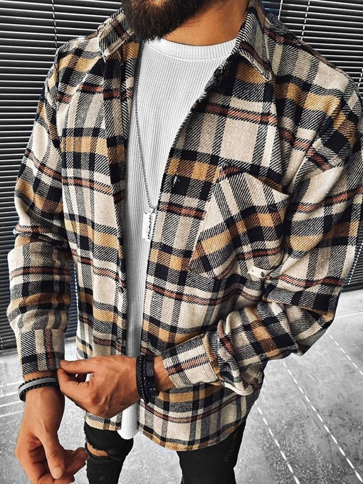 Ericdress Plaid Lapel Pocket Single-Breasted Casual Jacket