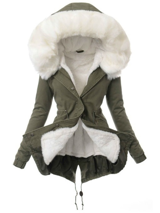Ericdress Button Single-Breasted Slim Mid-Length Cotton Padded Fashion Jacket