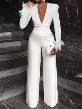 Ericdress Full Length Feather Plain Straight Loose Jumpsuit