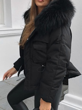 Ericdress Single-Breasted Zipper Thick Mid-Length Cotton Padded Jacket