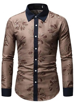 Ericdress Casual Lapel Floral Single-Breasted Slim Shirt