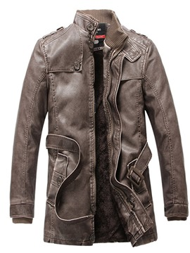 Ericdress Standard Stand Collar Pocket Casual Leather Jacket