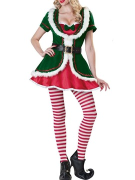Ericdress Christmas Patchwork Stripe Western Holiday Fall Costumes