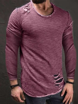 Ericdress Casual Hole Round Neck Nine Points Sleeve Pullover T-shirt