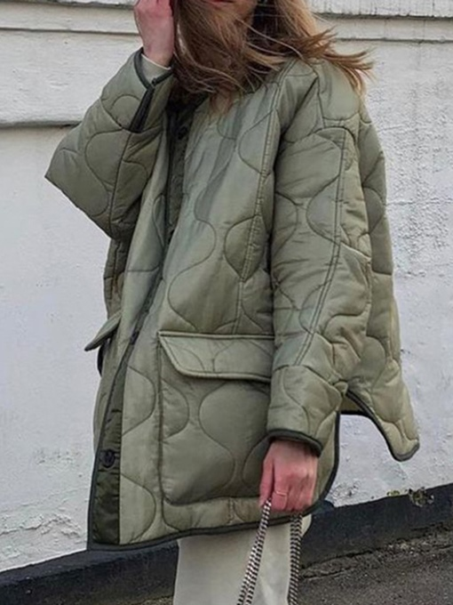 Ericdress Single-Breasted Button Loose Button Mid-Length Cotton Padded Jacket