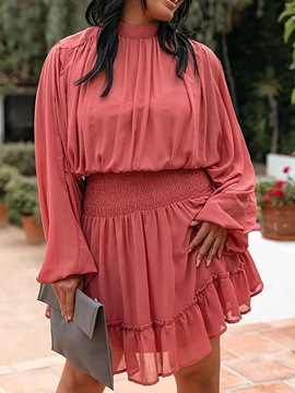 Ericdress Stand Collar Above Knee Pleated Fall A-Line Dress
