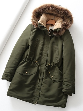 Ericdress Loose Single-Breasted Pocket Mid-Length Cotton Padded Jacket
