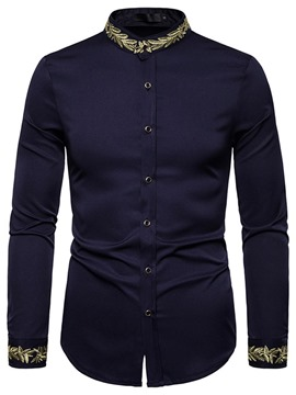 Ericdress Stand Collar Casual Embroidery Spring Single-Breasted Shirt