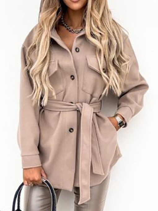 Ericdress Lace-Up Single-Breasted Slim Lapel Mid-Length Overcoat