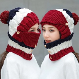 Ericdress Christmas Knitted Hat Button Color Block Fall Hats