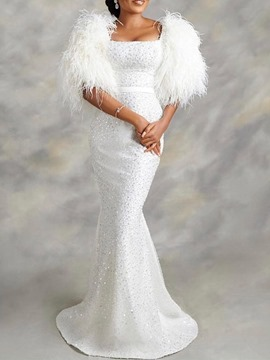 Ericdress Square Trumpet/Mermaid Feather Half Sleeves Evening Dress 2021