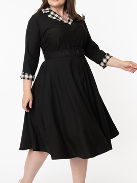 Ericdress Plus Size Mid-Calf Three-Quarter Sleeve Button Single-Breasted Fashion Dress