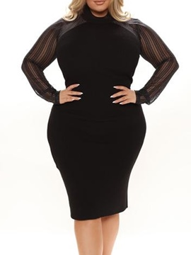 Ericdress Plus Size Knee-Length Stand Collar Long Sleeve Pullover Formal Dress