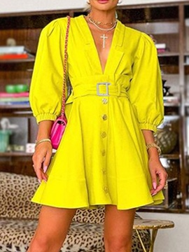 Ericdress Above Knee Button Three-Quarter Sleeve Single-Breasted Office Lady Dress