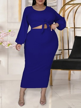 Ericdress T-Shirt Plain Western Round Neck Bodycon Two Piece Sets