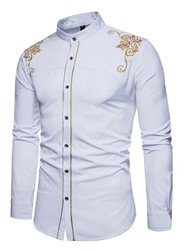 Ericdress Stand Collar Floral Embroidery Slim Spring Shirt
