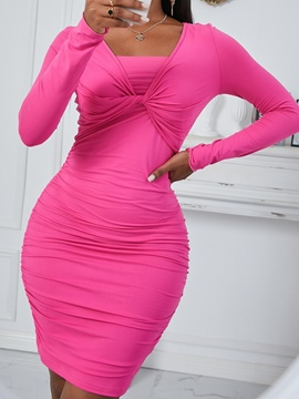 Ericdress Long Sleeve Above Knee Pleated Bodycon Pullover Sexy Dress