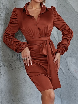 Ericdress Long Sleeve Lace-Up Above Knee Plain Pullover Dress