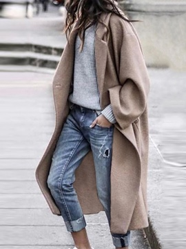 Ericdress One Button Loose Button Long Winter Overcoat