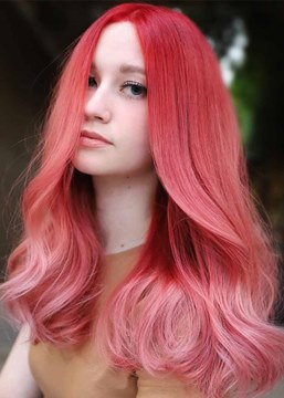 Ericdress Sexy Women's Shoulder Length Pink Color Straight Synthetic Hair Capless Wigs 22Inch