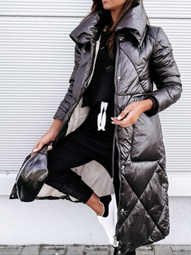 Ericdress Single-Breasted Straight Button Long Cotton Padded Jacket