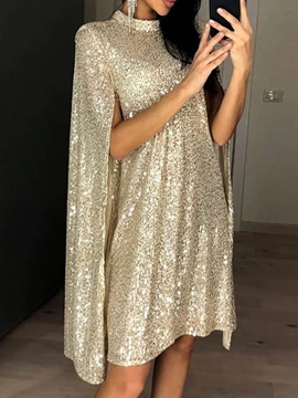 Ericdress Stand Collar Above Knee Sequins Spring Straight Dress