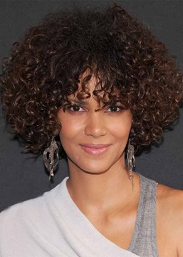 Ericdress Medium Hairstyles Women's Bob Style Curly Human Hair Capless Wigs With Bangs 16Inch
