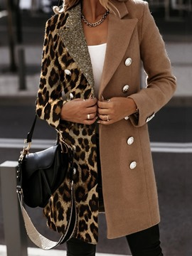 Ericdress Slim Patchwork Double-Breasted Fall Mid-Length Overcoat
