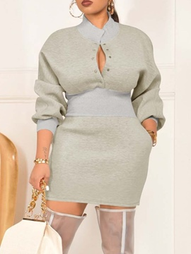 Ericdress Pocket Nine Points Sleeve Stand Collar Bodycon Pullover Dress