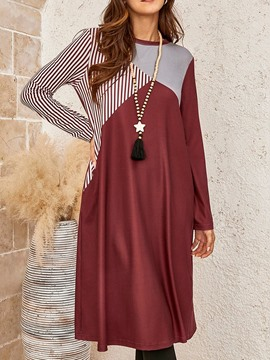 Ericdress Long Sleeve Round Neck Patchwork Color Block Pullover Dress